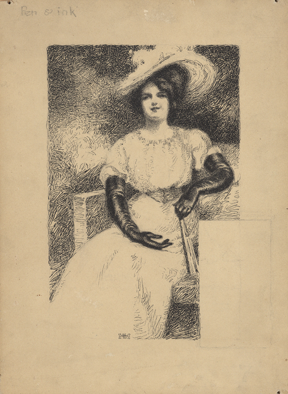 Pen Ink Woman Seated Hat.jpg