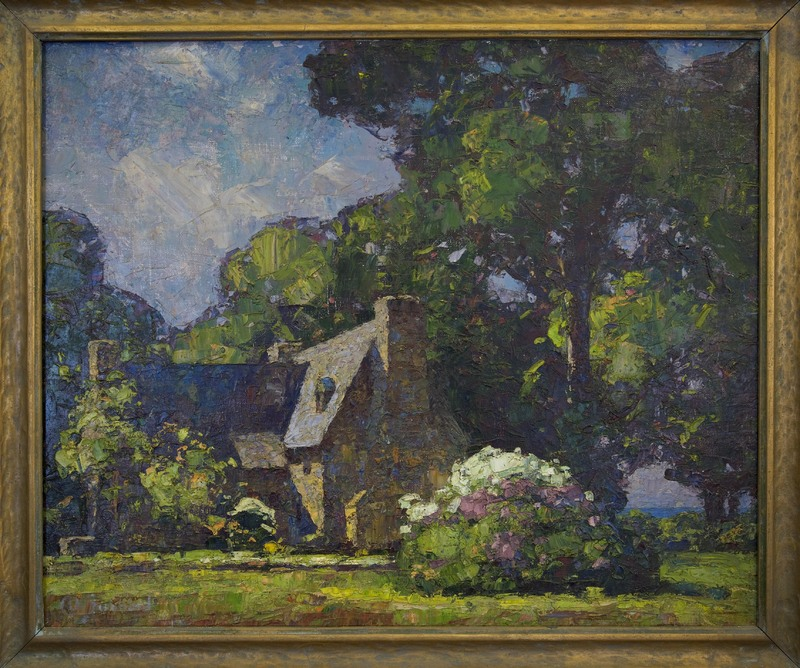Completed Henry Whitfield house painting by Hubbard stone house painting.jpg