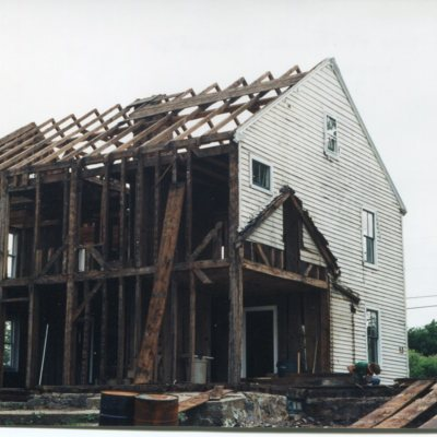 Timothy Seward Jr. house, 246 Goose Lane, rear of house, deconstruction, May, 1999, now storage units.jpg