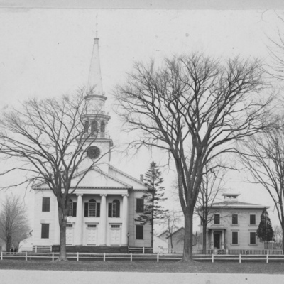 Broad St, Churches, 110 First Congregational Church, parsonage and house later razed, Guilford.jpg