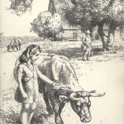 Pen Ink Girl Ox Cow House.jpg